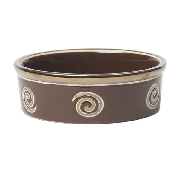Glitzy Swirls Dog Bowl - Espresso Brown