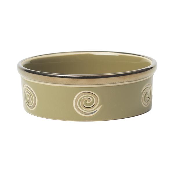 Glitzy Swirls Dog Bowl - Moss Green