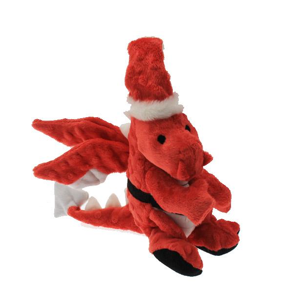 GoDog Santa Dragon Dog Toy with Chew Guard