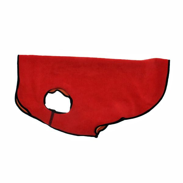Gold Paw Reversible Double Fleece Dog Jacket - Red/Orange