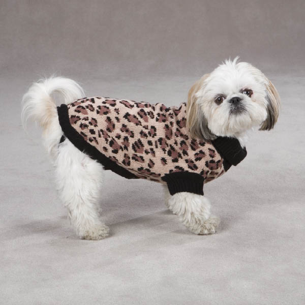 Gold Print Leopard Dog Sweater