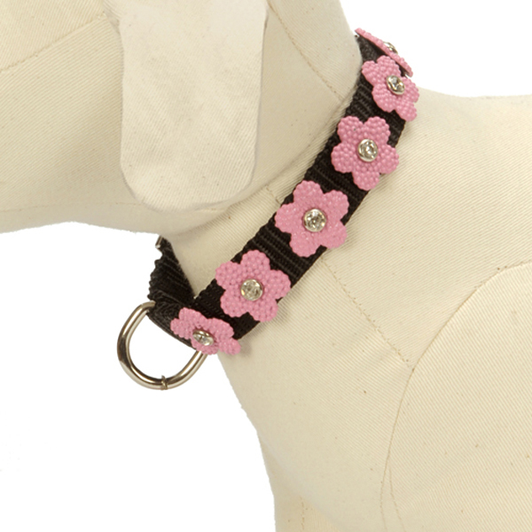 Gracie Pink on Black Daisy Dog Collar