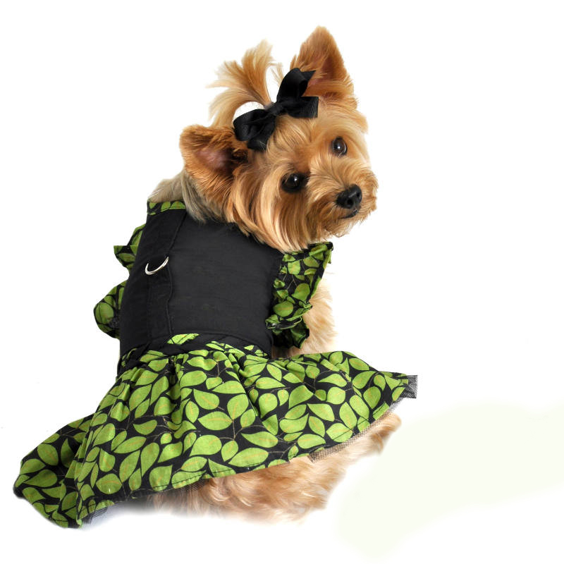 Green Leaf Harness Dog Dress
