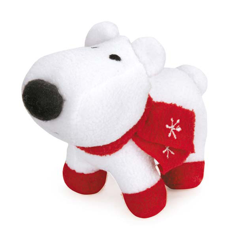 Grriggles Winter Lights Fleece Polar Bears Dog Toy - White