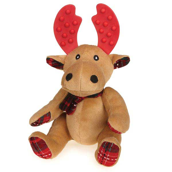 Grriggles Yuletide Tartan Moose Dog Toy - Light Brown