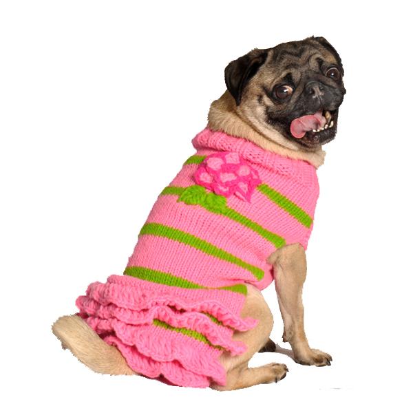 Handmade Pink Flower Wool Dog Sweater