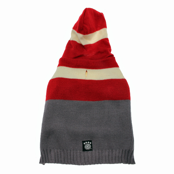 Harley's Hooded Dog Sweater - Garnet Red & Gray Stripe