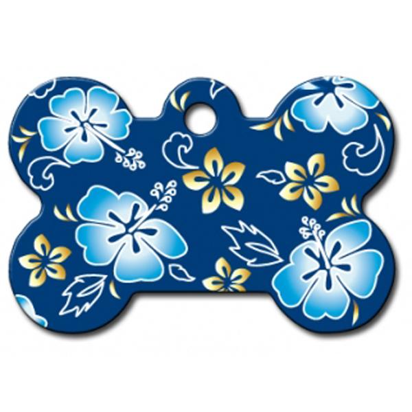 Hawaiian Bone Large Engraveable Pet I.D. Tag - Blue