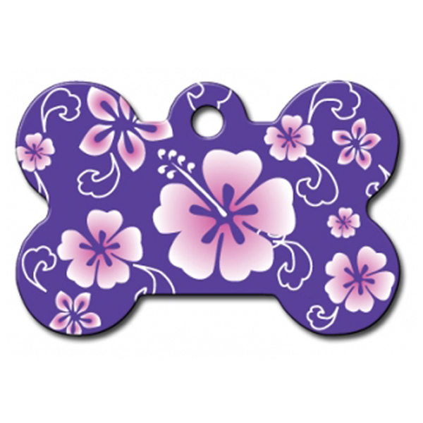 Hawaiian Bone Large Engraveable Pet I.D. Tag - Purple