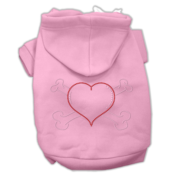 Heart and Crossbones Rhinestone Dog Hoodie - Pink