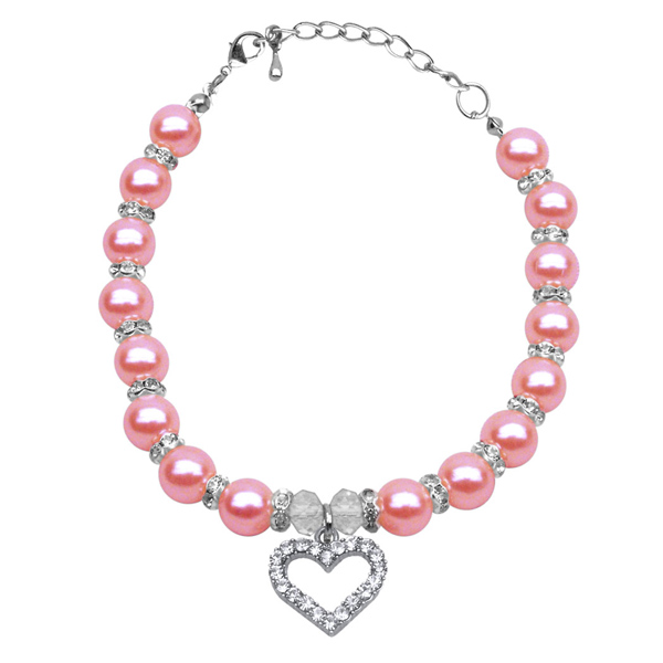 Heart and Pearl Dog Necklace - Rose