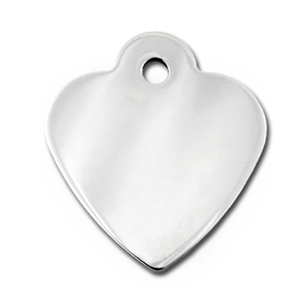 Heart Small Engravable Pet I.D. Tag - Chrome