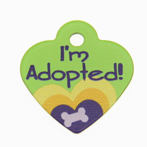 Heart Small Engravable Pet I.D. Tag - Green Adopted
