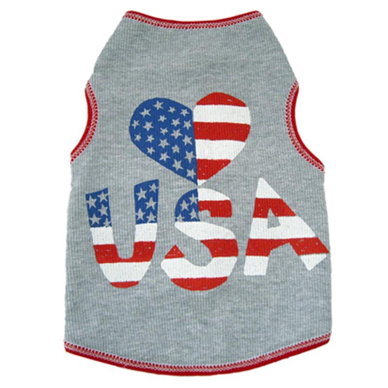 Heart USA Dog Tank - Gray