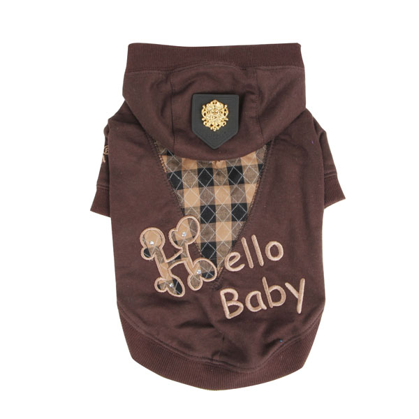 Hello Baby Dog Hoodie by Puppia - Brown