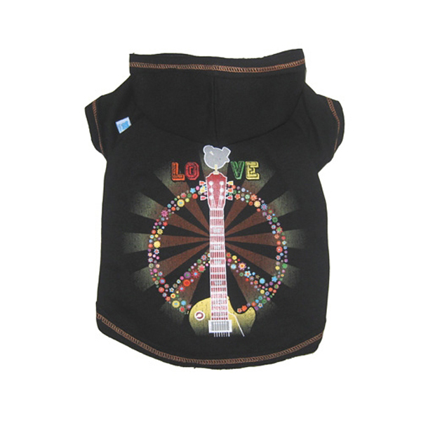 Hipster Peace & Love Dog Hoodie