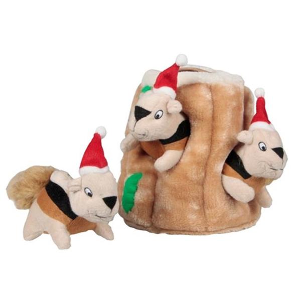 Holiday Hide-A-Squirrel Plush Dog Toy