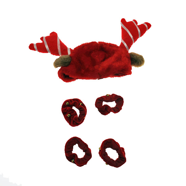Holiday Reindeer Dog Costume with Leg Cuffs - Red & White