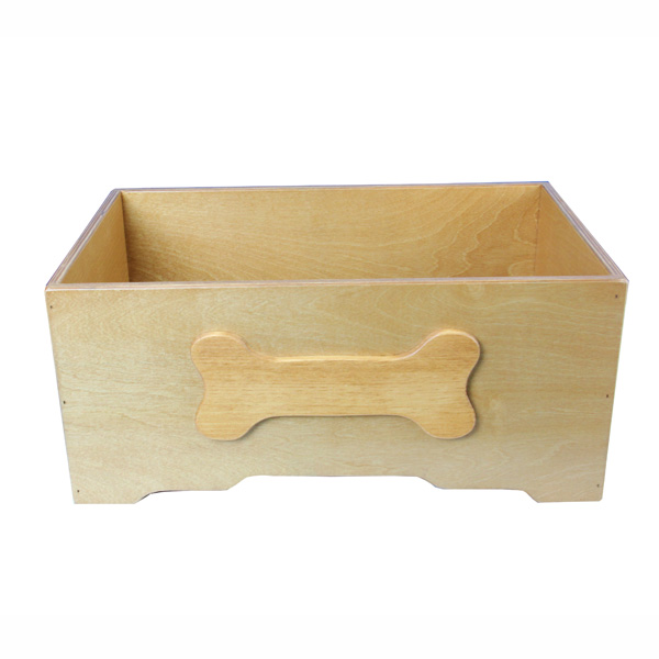 Honey Pine with Bone Design Wooden Dog Toy Bin