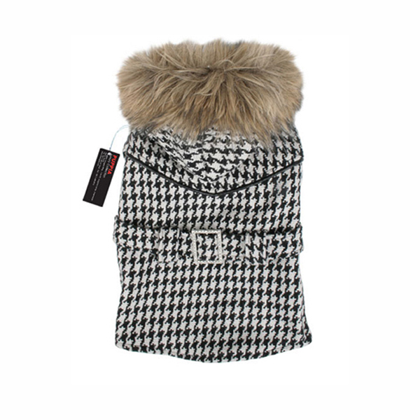 Houndstooth Coat w/ Fur Trim by Puppia - Black