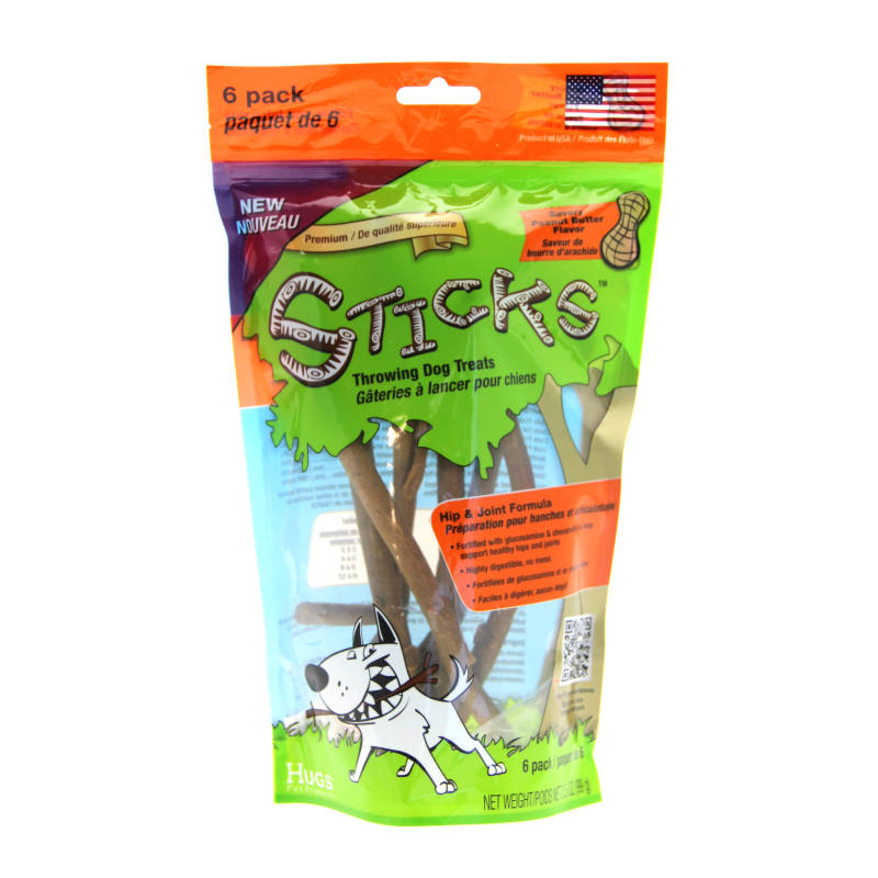 Hugs Sticks Throwing Dog Treats - Peanut Butter