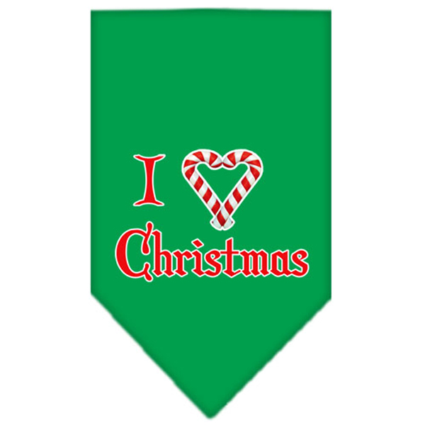 I Heart Christmas Dog Bandana - Green
