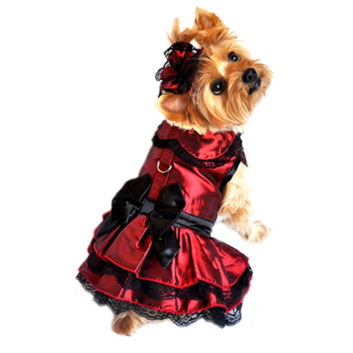 Iridescent Burgundy Satin Dog Dress with Headpiece