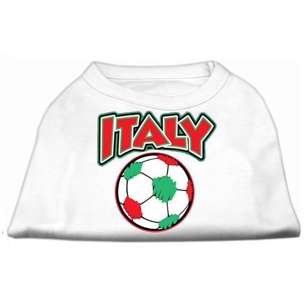 Italy Soccer Print Dog Shirt - White