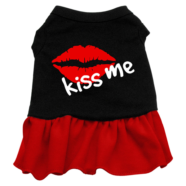 Kiss Me Dog Dress - Black with Red Skirt