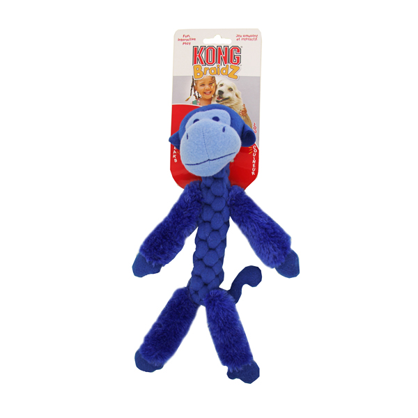 Kong BraidZ Dog Toy - Fuzzy Monkey