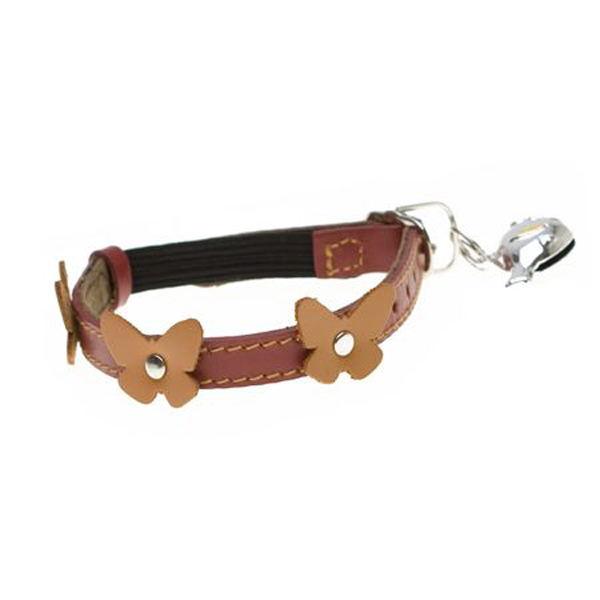 Leather Cat Collar - Papillon Red