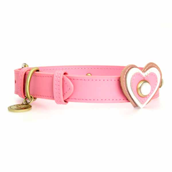 Hearts Leather Dog Collar - Pink