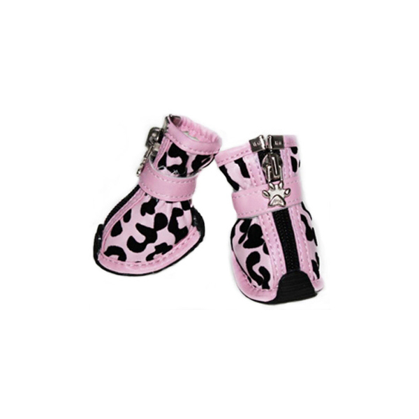 Leopard Print Fashion Dog Boots - Pink