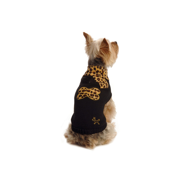 Leopard Scarf Dog Sweater by NY Dog - Black