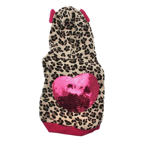 Leopard Sequins Heart Dog Hoodie