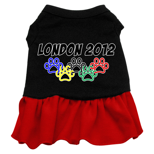 London 2012 Paws Dog Dress - Black with Red Skirt