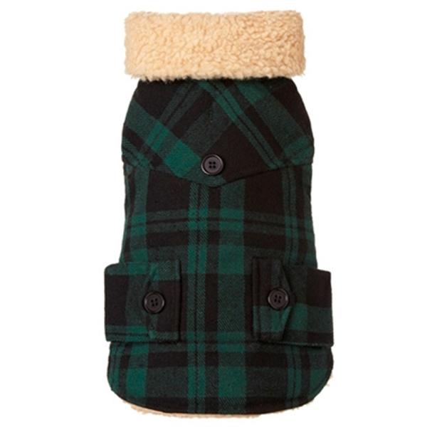 Lumberjack Wool Plaid Shearling Dog Jacket - Green