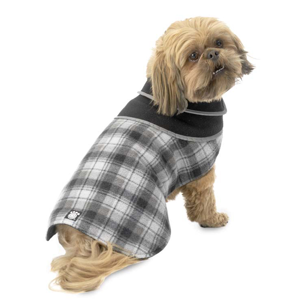 Manchester Fleece Dog Coat  - Gray Plaid