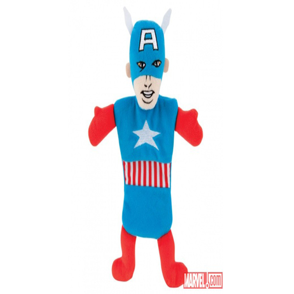 Marvel Crinkle Bottle Stuffer Dog Toy - Captain America