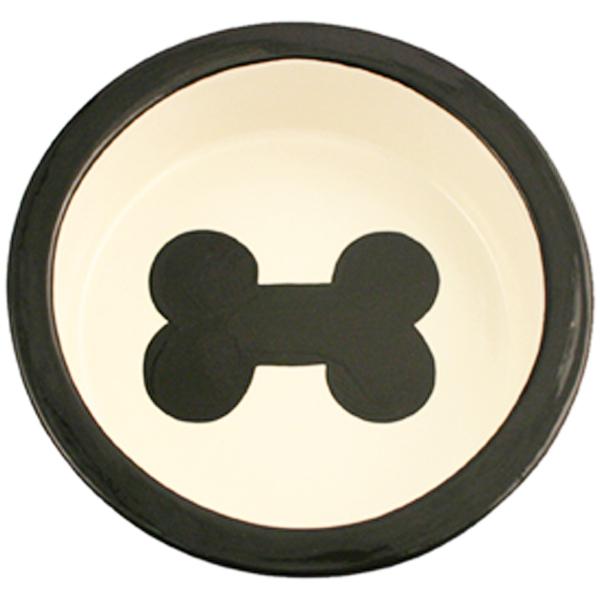 Melia Bone Ceramic Pet Bowl - Black