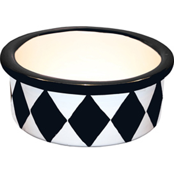 Melia Harlequin Ceramic Pet Bowl - Herringbone