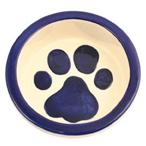 Melia Paw Ceramic Pet Bowl - Moody Dark Blue