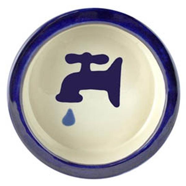 Melia Water Tap Ceramic Pet Bowl - Moody Dark Blue