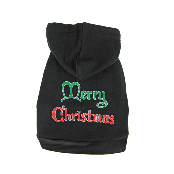Merry Christmas Print Dog Hoodie - Black