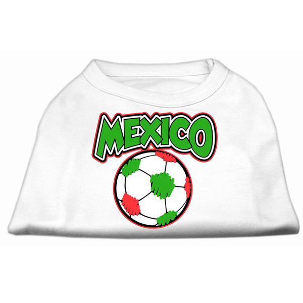 Mexico Soccer Print Dog Shirt - White