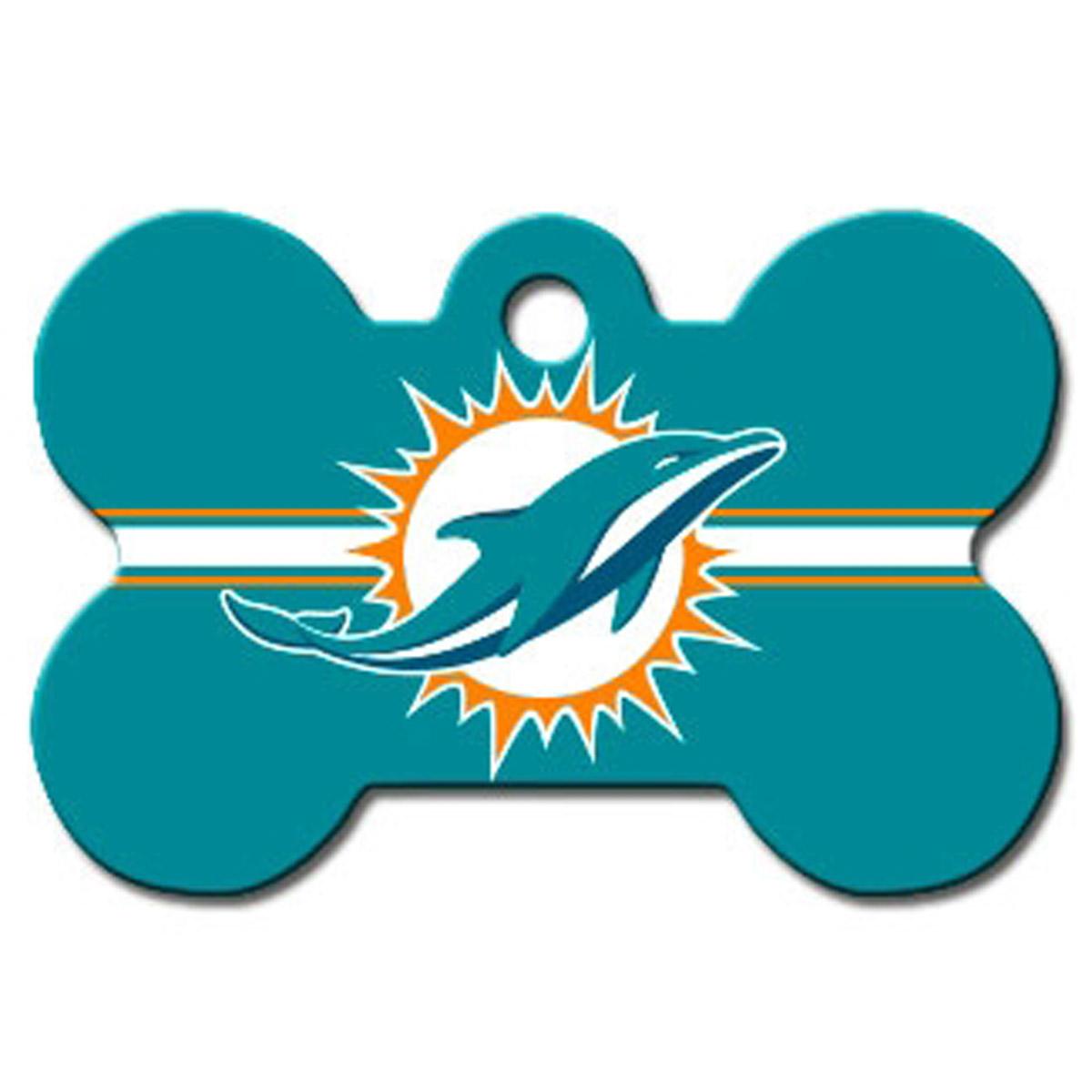 Miami Dolphins Engravable Pet I.D. Tag - Bone