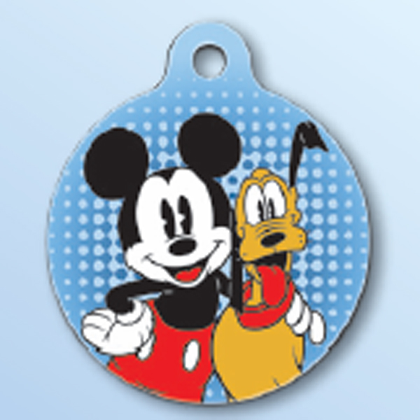 Mickey Mouse and Pluto QR Code Pet ID Tag