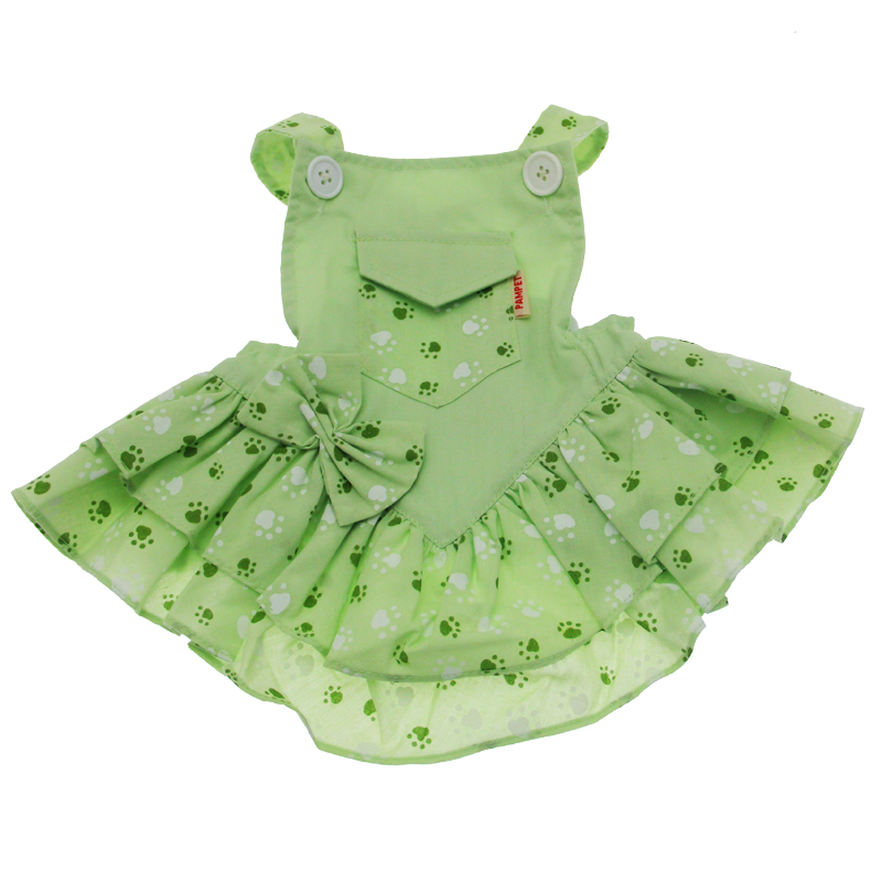 Mini Pocket Paw Dog Dress - Green