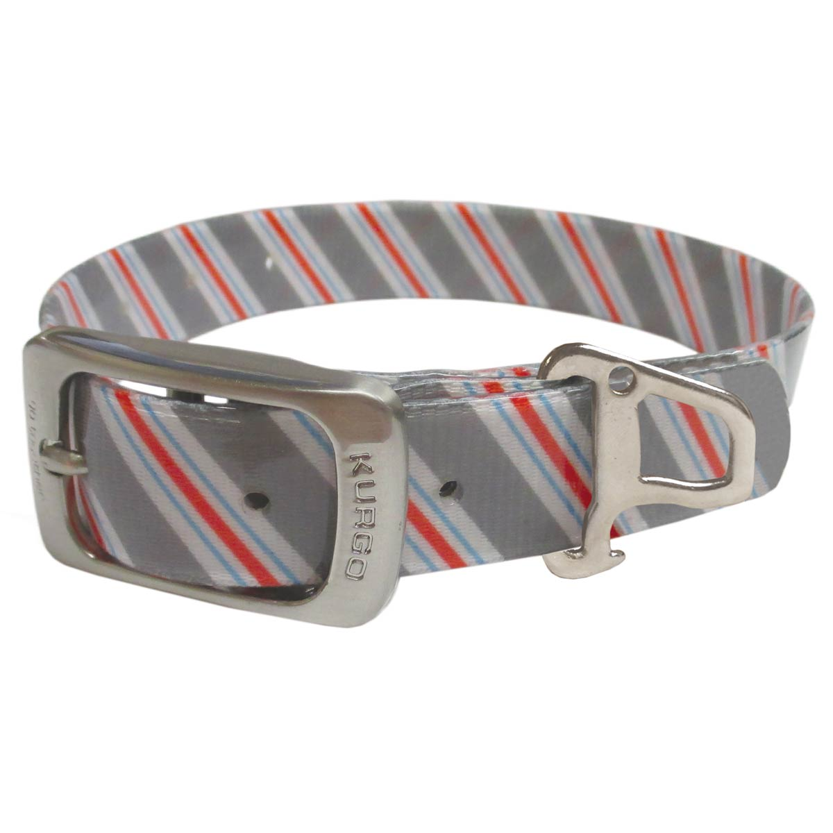 Muck Dog Collar by Kurgo - Prepster Stripe Granite Gray
