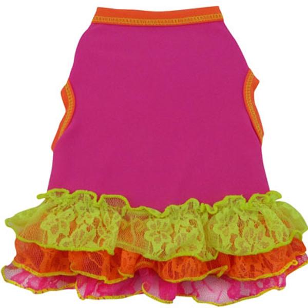 Neon Geo Lace Dog Dress